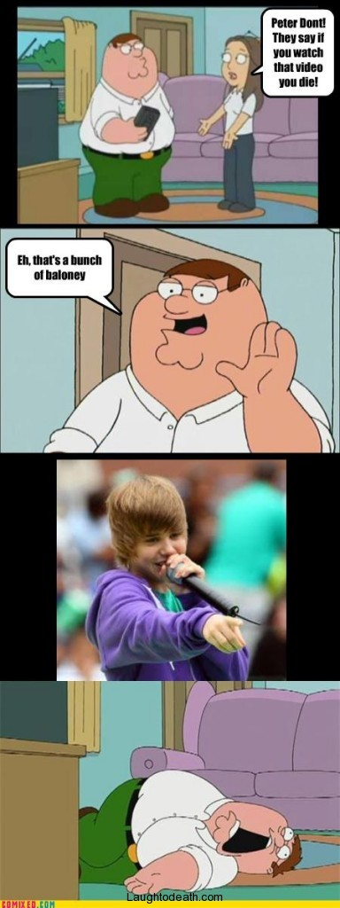 Peter Griffin, watches justin bieber